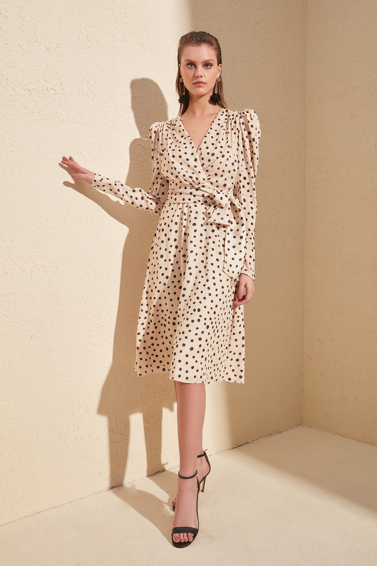 Trendyol Lacing Detailed Polka Dot Dress TPRSS20EL0775