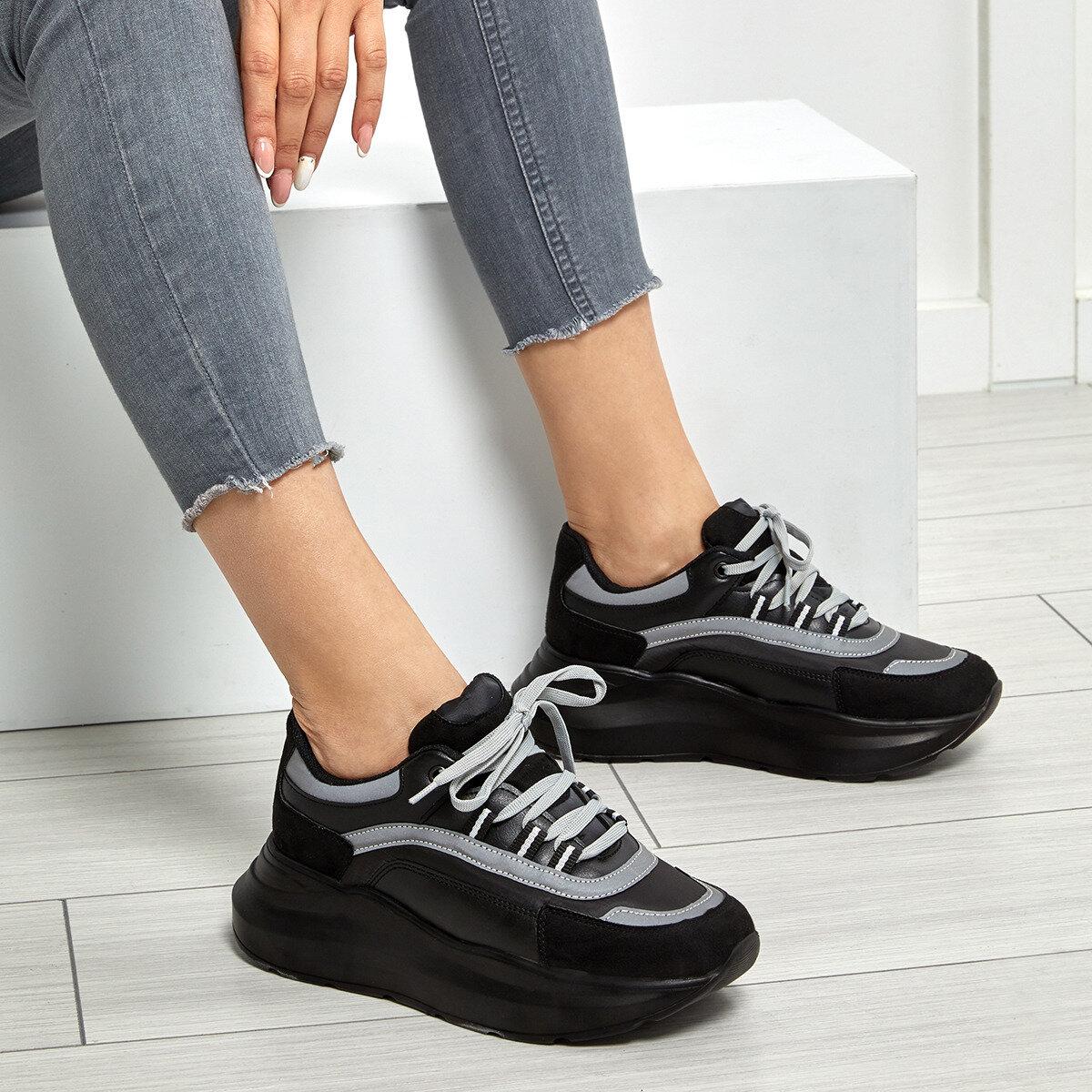 FLO Women Casual Sneakers Sport Spring Autumn Sneakers Breathable Women Shoes Lace Up Female Boots Comrfortable Platform Shoes Women Black BUTIGO 19SF-2058