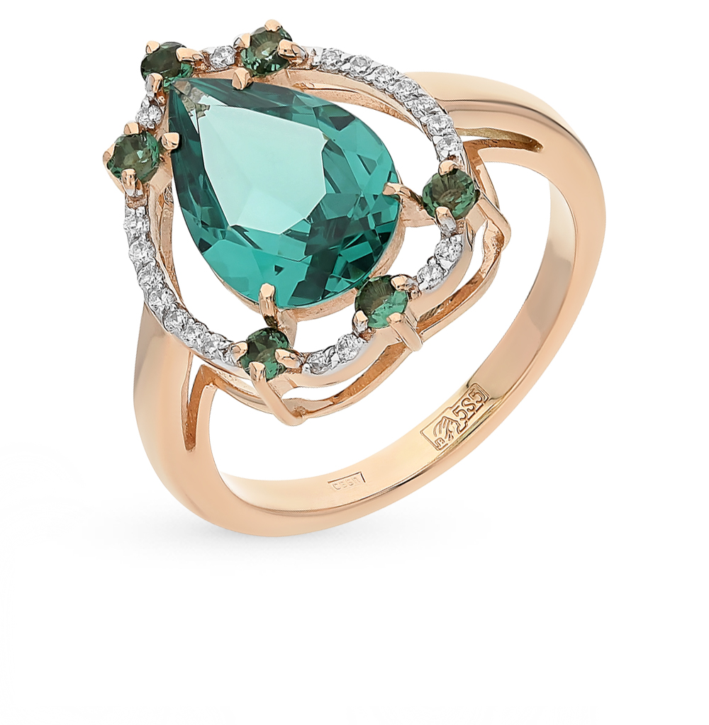 Gold Ring With Tourmaline, Cubic Zirconia And Paraiba Sitall Sunlight Sample 585
