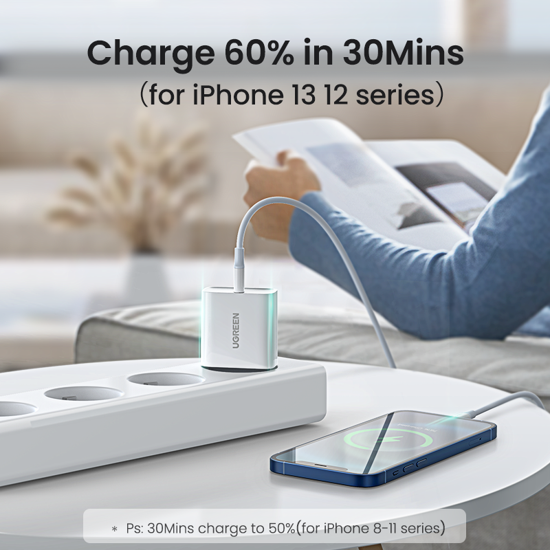 UGREEN Quick Charge 4.0 3.0 QC PD Charger 20W QC4.0 QC3.0 USB Type C Fast Charger for iPhone 13 12 Xs 8 Xiaomi Phone PD Charger 2