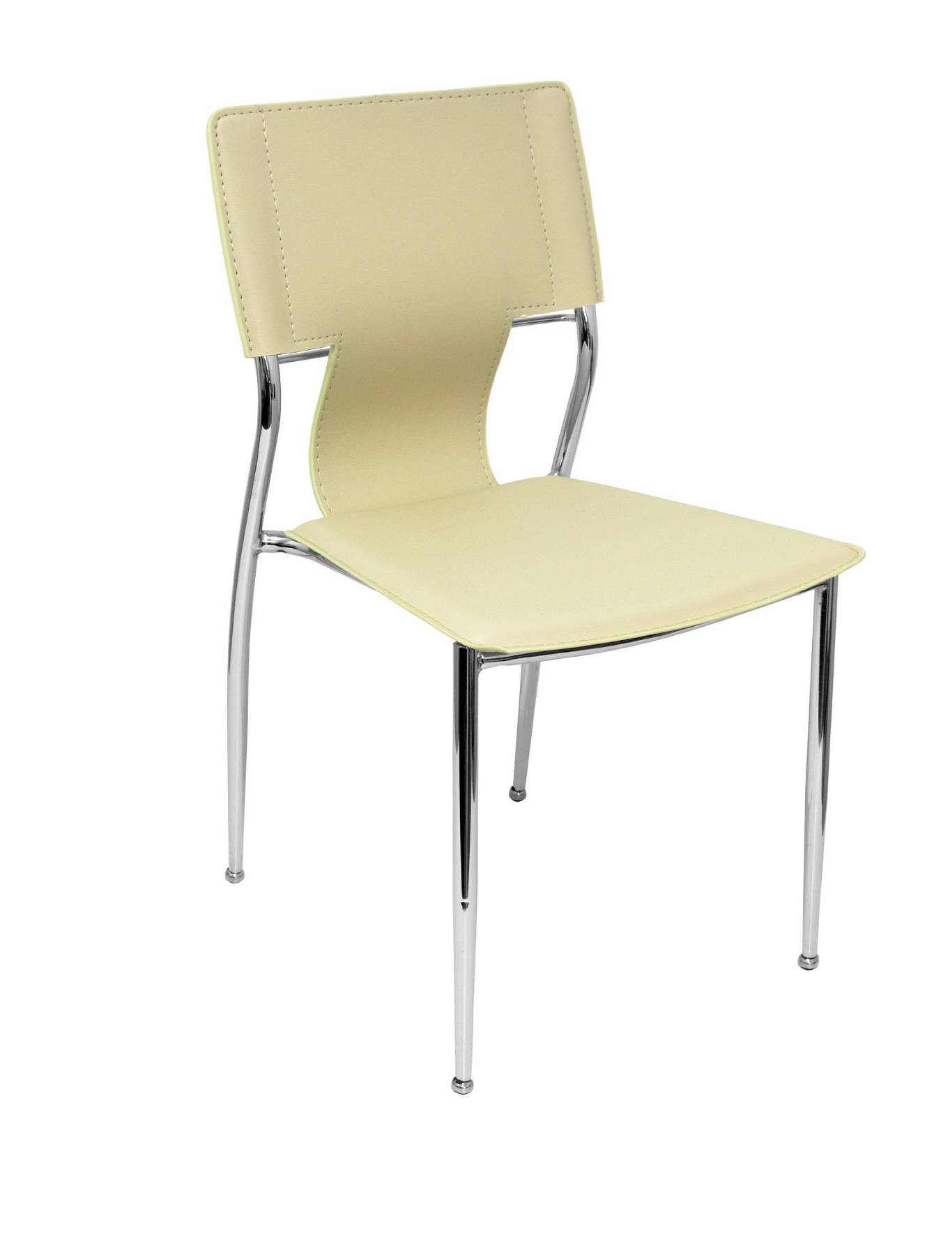 Pack 4 Chairs Confident Of 4 Legs With Estructrua Chrome Seat And Back Upholstered In Similpiel Cream PIQU