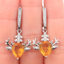 33x12mm Elegant Antlers Shape Golden Citrine White CZ Gift For Girls Silver Earrings