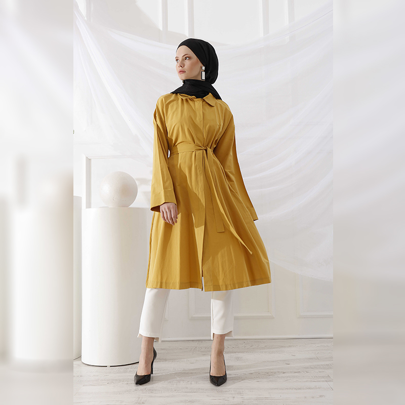 New Women Trench Coat Double Row Button Detailed Trench Coat Long Double-Breasted Belt Lady Clothes Autumn Spring Outerwear Oversize Quality For Women Trench Coat Muslim Women Ramadan Eid Arab Islamic Fashion I-1083