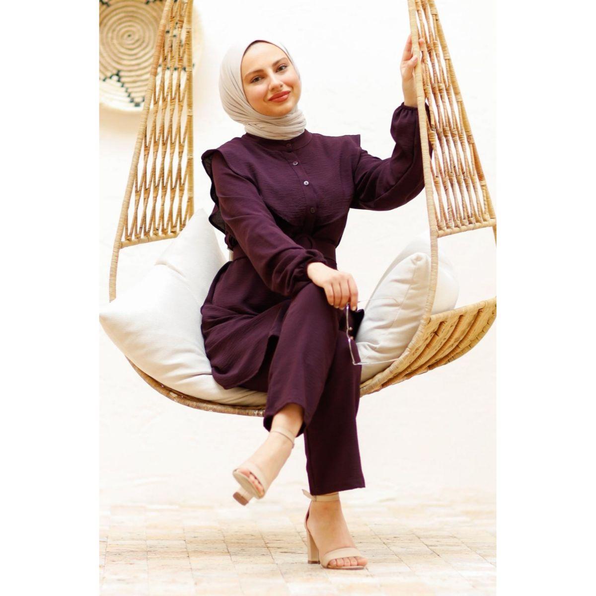 2 Pieces Comforabl Women's Set, Maxi Tunic and Pant Double Suit For Winter Islamic Fashion Muslim Clothing Turkey Dubai 2021