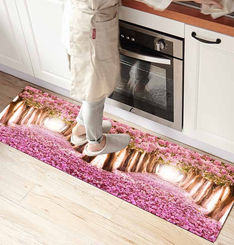 Else Pink Tree Roses Flowers Leaves Way 3d Print Non Slip Microfiber Kitchen Counter Modern Decorative Washable Area Rug Mat