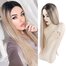 long Blonde wigs for women heat resistant fiber synthetic hair Natural Straight Wig cosplay fashion long straight 6h27h613 heat resistant synthetic hair extension for women