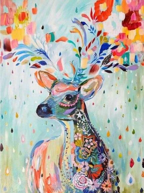 Painting By Numbers Flower Deer, 40x50 Cm