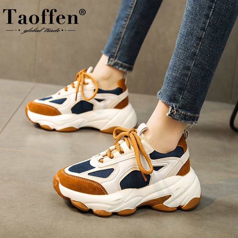 Taoffen Spring Autumn Women Shoes Cross Tied Sneakers Round Toe Sports Shoes Vulcanized Shoes Female Footwear Size 35-39