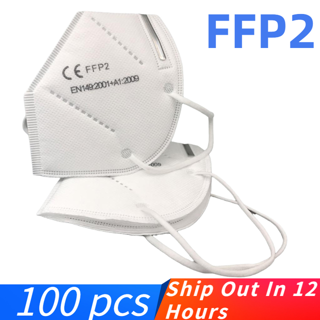 100pcs Fast shiping FFP2 Mask KN95 Face Masks Safety 95% Filtration for Dust Particulate Pollution Protective Mouth Mask