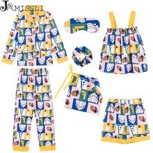 JRMISSLI na co dzień bawełna kobiet 7 sztuk piżamy ustawia kobiety piżamy bielizna nocna ustawia wiosna lato jesień Homewear top i szorty