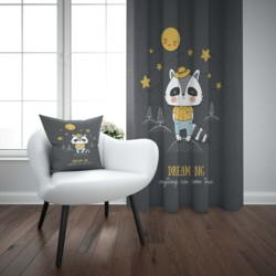 Mais estrelas da noite engraçado bonito guaxinim 3d impressão crianças do bebê painel janela conjunto cortina combinar presente travesseiro caso