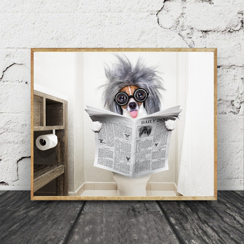 Stag Toilet Newspaper Print CANVAS WALL ART Portrait Picture Grey
