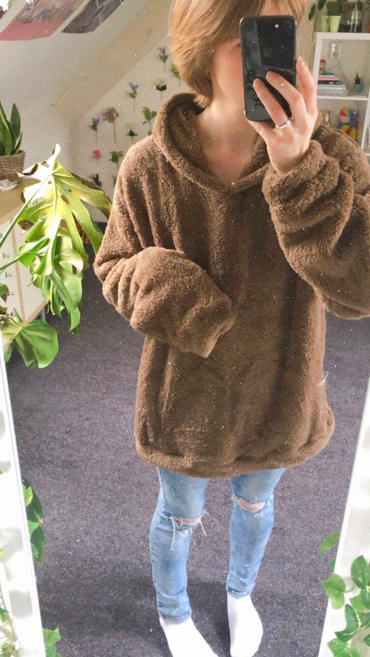 Fluffy hoodies Women kawaii Sweatshirt cute bear ear cap Autumn Winter Warm pullover Long Sleeve outwear Fleece coat moletom new photo review