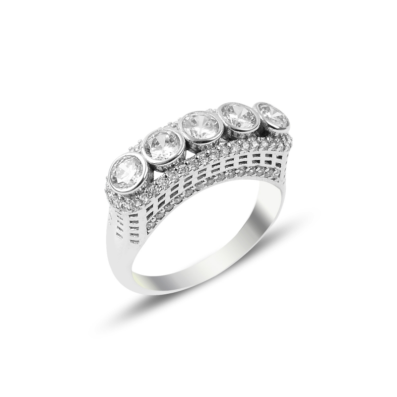 Silver 925 Sterling Zircon Cubic Zirconia Dibs Ring()