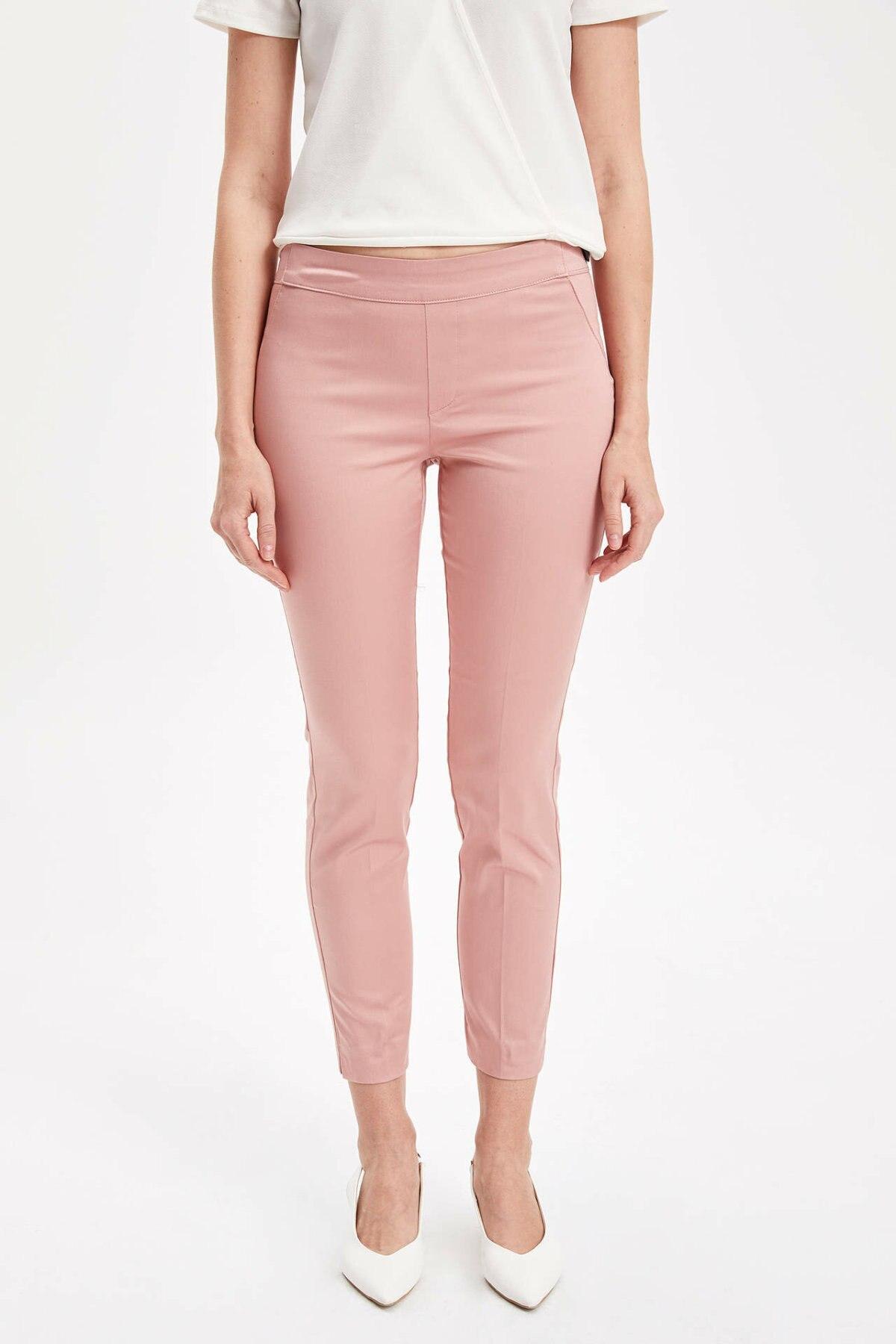 DeFacto Woman Spring Pink Color Ninth Pants Women Fit Slim Pencil Pants Female Skinny Bottoms Trousers-L0664AZ19SP