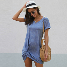 T-Shirt Dress Comfy Women Summer V-Neck Solid-Color Casual Loose Tied Twist Knot Basic