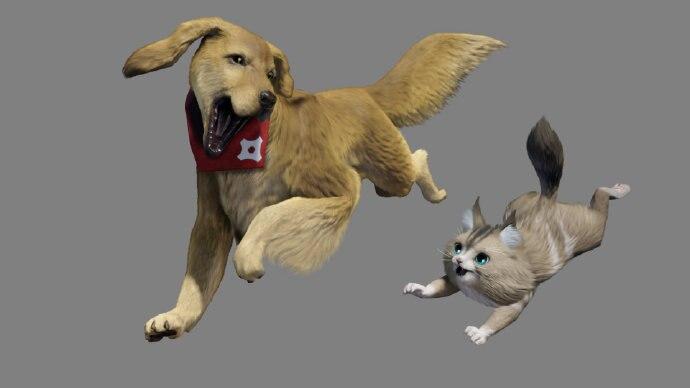 《怪物猎人:崛起》艾露猫、牙猎犬特典造型演示