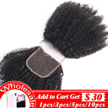 Brazilian Human Hair Afro Kinky Curly closure 8-20Inch 4*4 Free Part Lace Closure Natural Color Remy Hair Weaving Free to Brazil - Category 🛒 Hair Extensions & Wigs