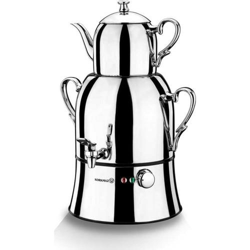 KORKMAZ Nosta Mega Inox / Chrome Electric Turkish Teapot, Tea Maker, Samovar, Kettle A334
