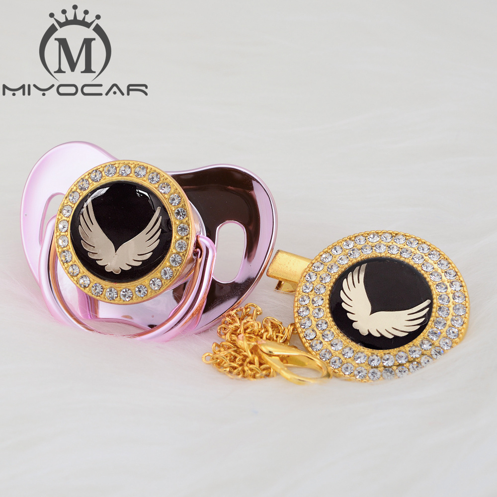 MIYOCAR Gold Lovely Gold Wing Beautiful Gold Bling Pacifier And Pacifier Clip BPA Free Dummy Bling Unique Design BPA Free GWG
