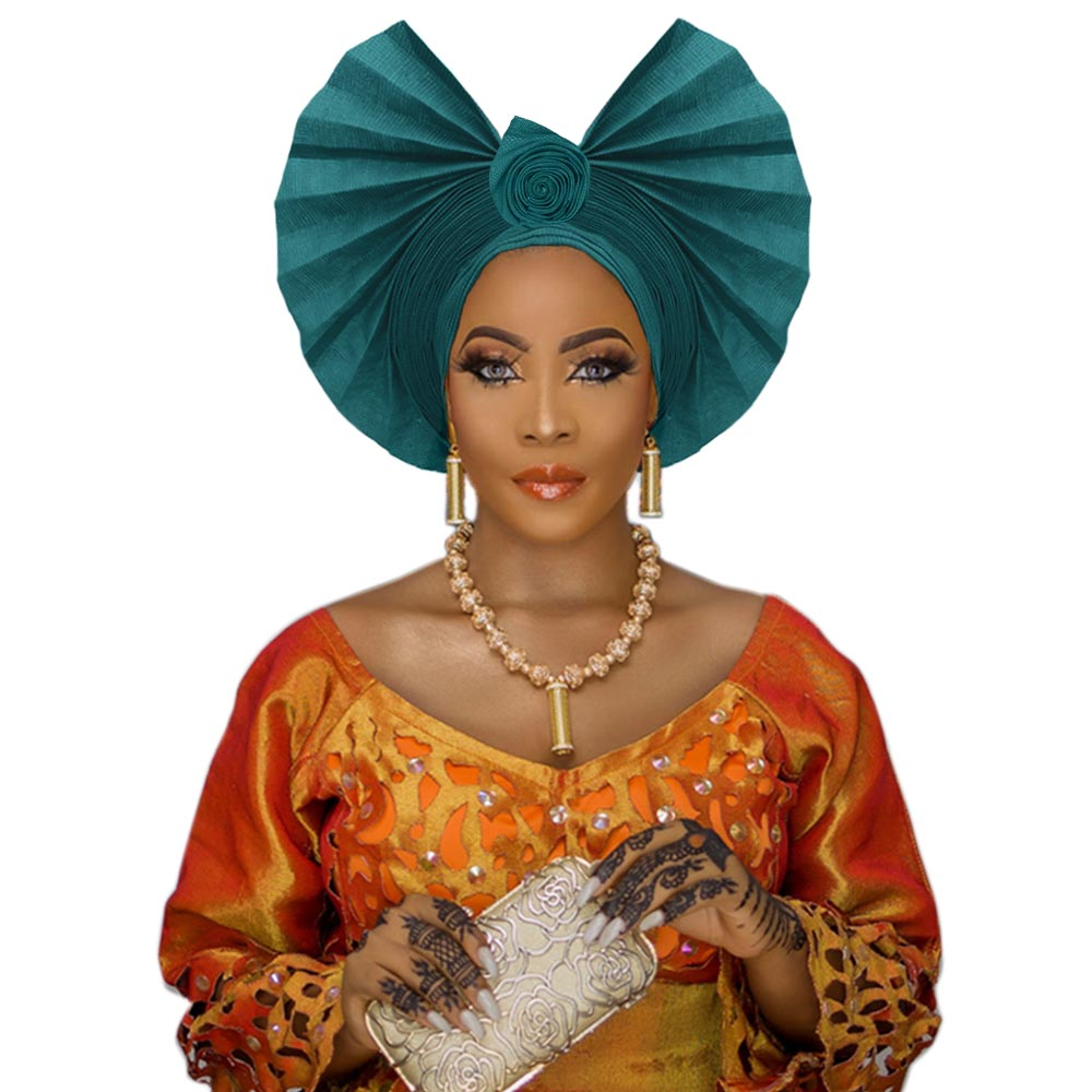 Beautiful African Gele Headwrap For Wedding  Ankara Aso Oke Headtie Nigerian Handmade Turban