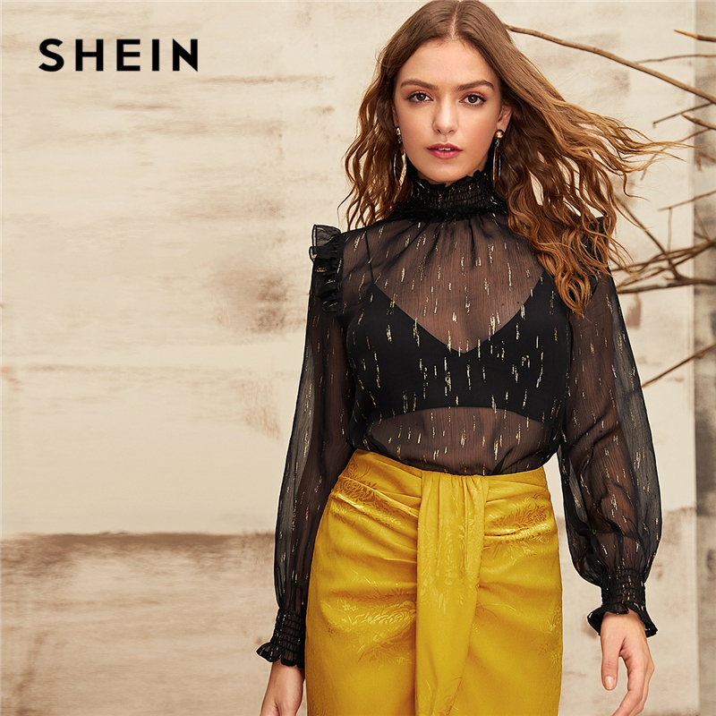 SHEIN Shirred Neck And Cuff Gold Print Chiffon Blouse Without Bra Women Tops 2019 Autumn Bishop Sleeve Lady Ruffle Sexy Blouses