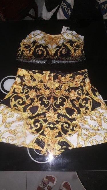 Glamaker Paisley Print Vintage Black Women Dress Sexy Two Piece Suit Elegant Party Gold Dress Summer Beach Lace Patchwork Dress photo review