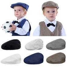 Bebê meninos chapéu da criança espinha de peixe boné liso crianças vintage motorista chapéus infantil algodão macio forro acessórios