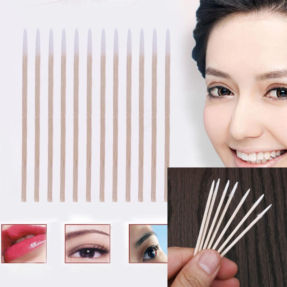 300pcs Wooden Handle Cotton Swab Permanent Makeup Applicator Medical Swabs Ear Jewelry Clean Sticks Buds Tip Head Swab