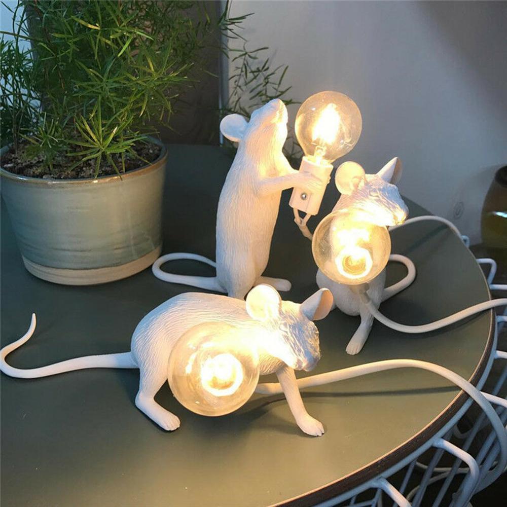 Reçine fare LED gece lambası beyaz başucu lambası enerji tasarrufu yaratıcı çocuk odası dekoratif süs masa aydınlatma