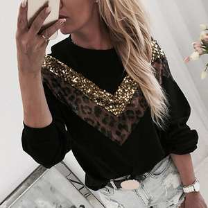 Girls Sweatshirt Stitching Sequins Patchwork Long-Sleeve Teen Leopard Autumn Fashion