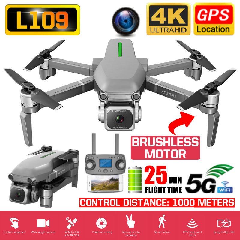 L109 RC Drone 4K Quadcopter With Camera Full HD Professional Helicopter 5G WIFI GPS Follow Me FPV Electronic Stabilization Lens