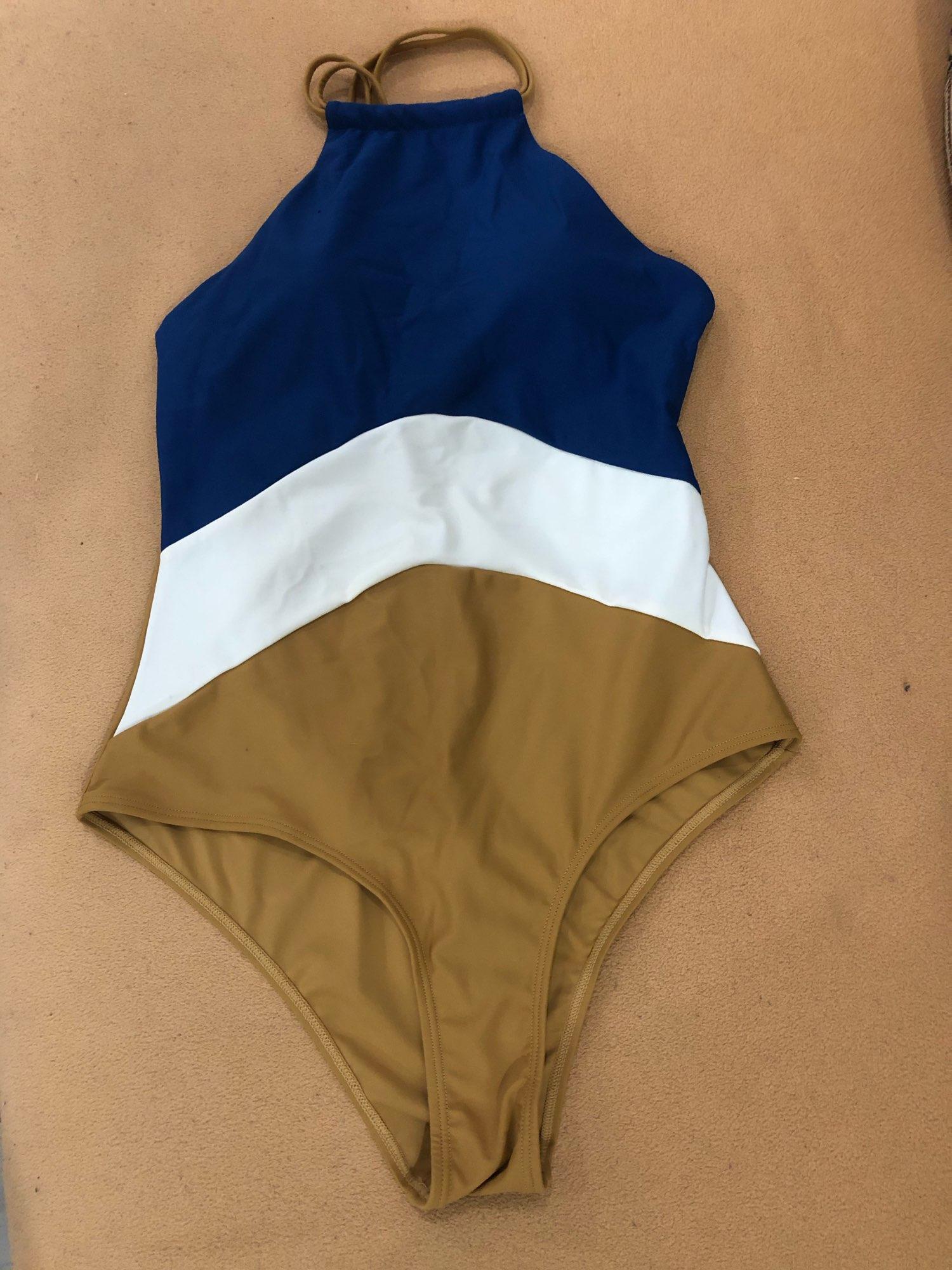 2019 Patchwork One Piece Swimsuit Swimwear High Neck Bodysuit Bathing Suit Women Piece Swimwear Beach Wear Monokini|Body Suits|   - AliExpress