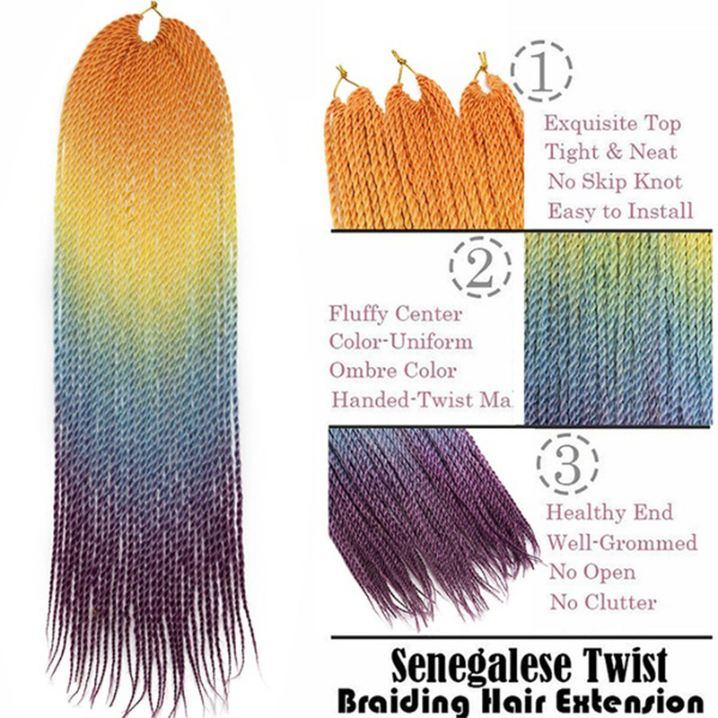 XINRAN Senegalese Twist Crochet Hair Extensions Ombre Braiding Hair Synthetic Crochet hand knitting braids Crochet Braids