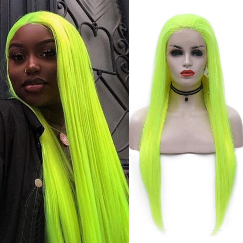 Charisma Light Green Wig High Temperature Fiber Hair Synthetic Lace Front Wig Long Straight Glueless Wigs For Women