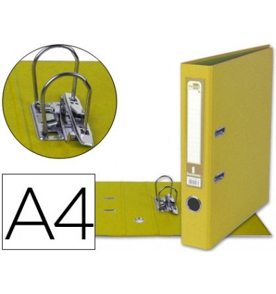 LEVER ARCH FILE LEADERPAPER A4 DOCUMENTS PVC SHEATHED WITH RADO LOMO 52MM YELLOW COMPRESSOR METAL