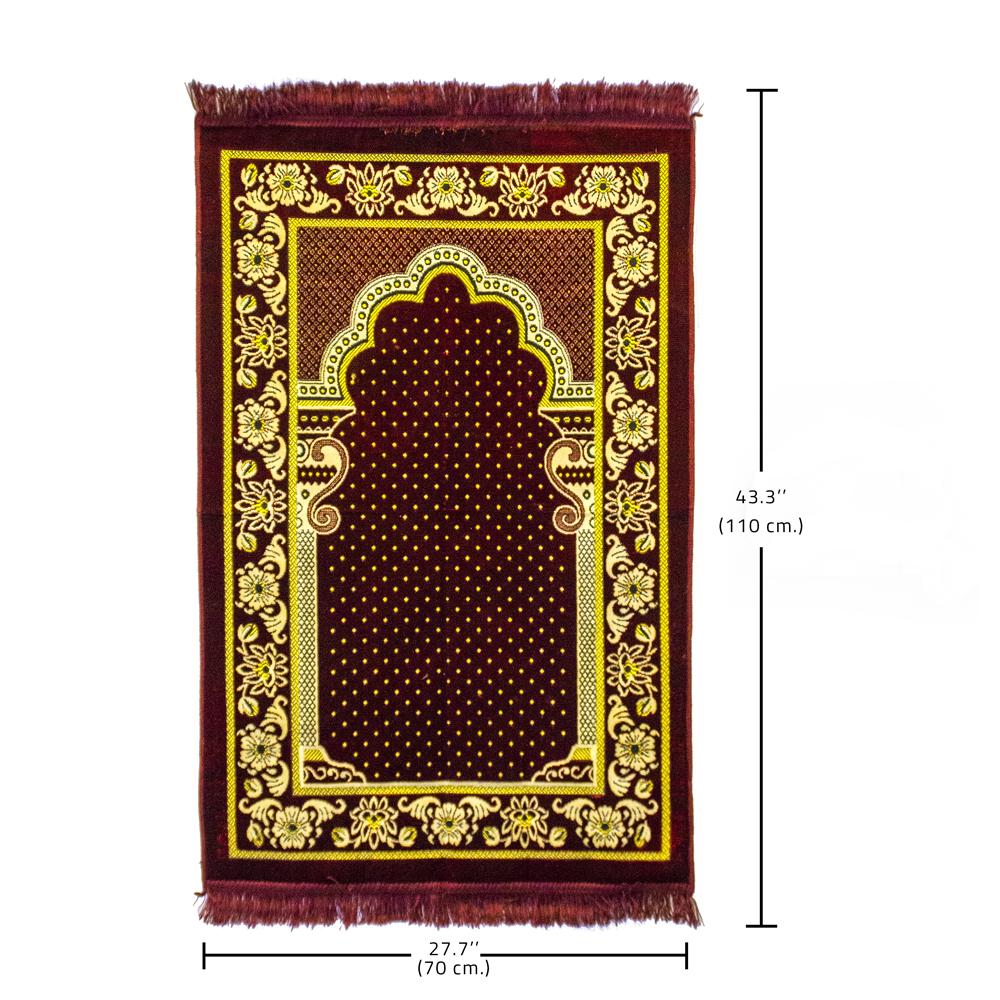 Islamic Thick Velvet Prayer Rug, Arabic Sajjada, Turkish Namazlik Carpet Mat with Multi Colors