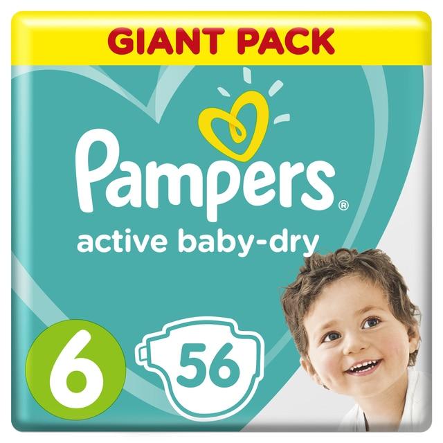 Подгузники Pampers Active Baby-Dry 13-18 кг, размер 6, 56 шт.