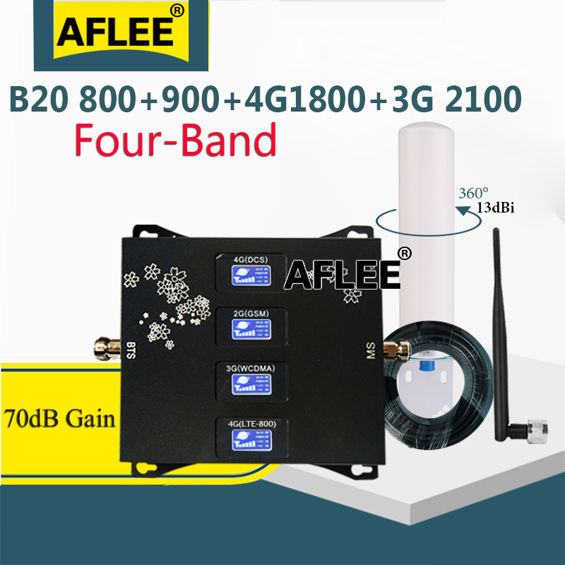 B20 800 900 1800 2100mhz Four-Band Cell Phone Cellular Amplifier GSM Repeater 2G 3G 4G Mobile Signal Booster DCS WCDMA  LTE Set