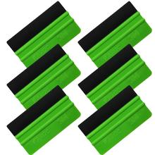 6pcs 3M Green Detailer Plastic Squeegee with Felt Edge for FilmWrapTint Tinting Tool Auto Window Scraper Vehicle Wrapping A75F