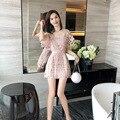 Летнее платье, маленькое свежее розовое нежное кружевное платье, женское тонкое платье А-силуэта на талии