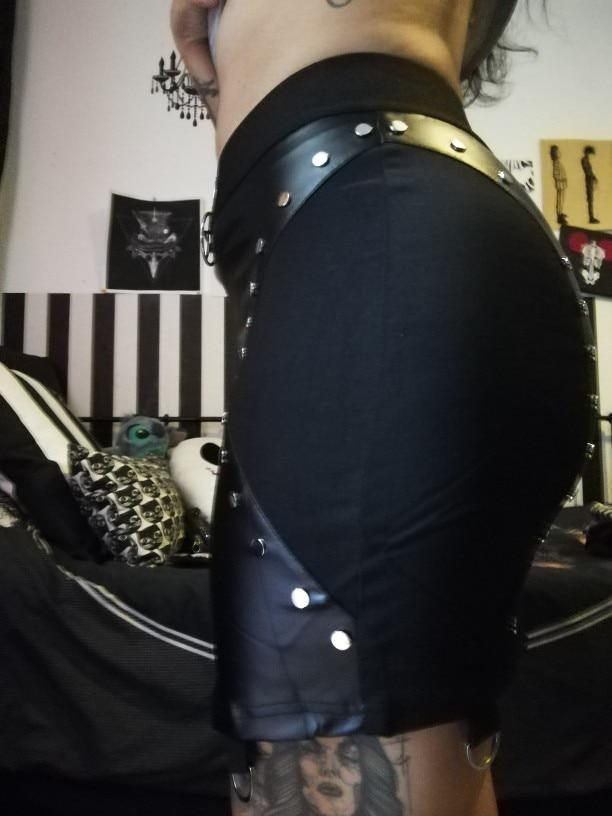 Pu Leather Short Skirts Women Summer Bodycon Black Sexy Slim Rivet Skirt Gothic Punk High Waist Bodycon Pencil Mini Skirts photo review