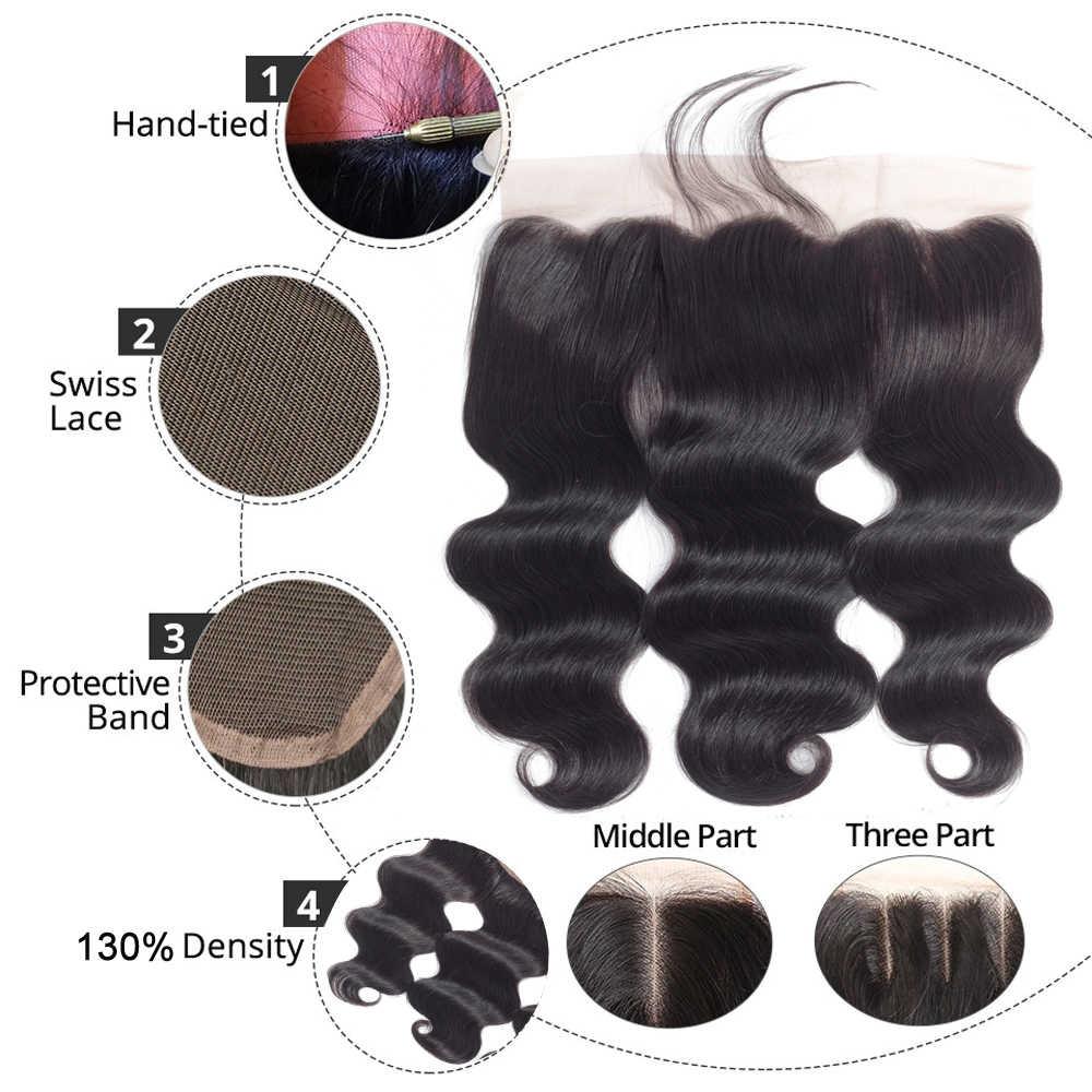 Beaudiva onda do corpo brasileiro 3 pacotes com frontal cabelo humano tecer pacotes de renda frontal com pacotes de extensão do cabelo humano