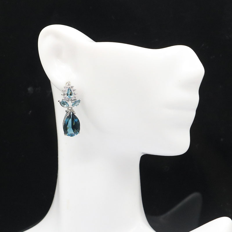 25x11mm Luxury Drop Shape London Blue Topaz White CZ Woman's Jewelry Making Silver Earrings