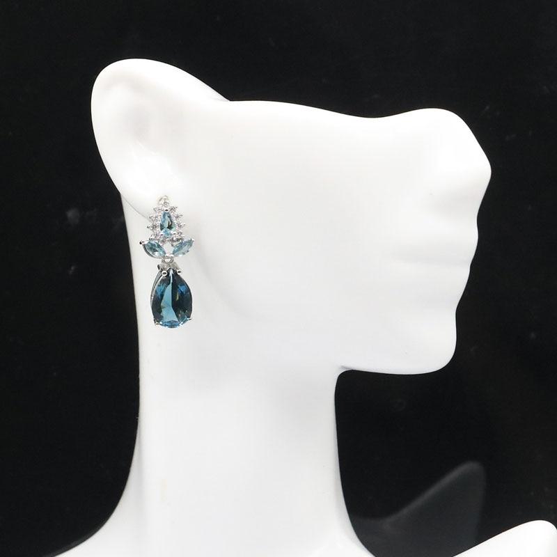 25x11mm Luxury Drop Shape London Blue Topaz White CZ Woman's Jewelry Making Silver Earrings