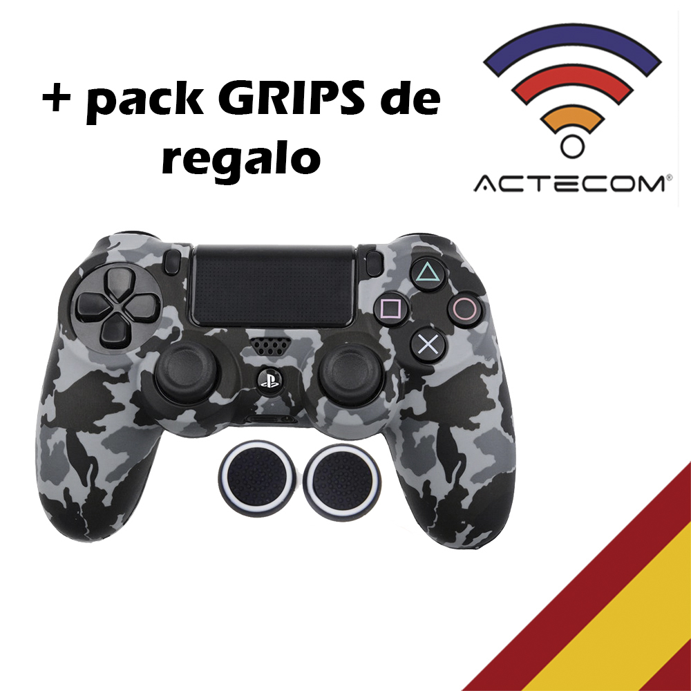 ACTECOM Funda Carcasa + Grip Silicona Camuflaje Gris Mando Sony PS4 Playstation 4