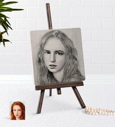 Personalized Women 'S Charcoal Artistic Portrait Design Şovaleli Natural Taş-13