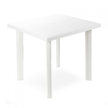 Square white Fiocco resin table 80x80x72cm Progarden