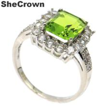 15x14mm Pretty Created Green Peridot White CZ Woman's Gift Silver Rings