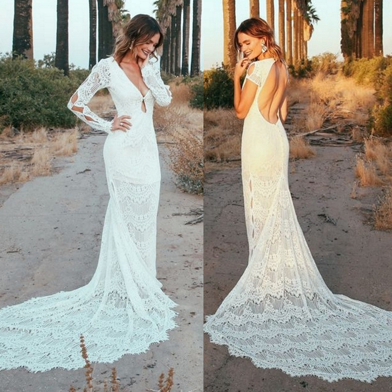 Backless Lace Fabric Sheath Wedding Dress Bridal Gown With Long